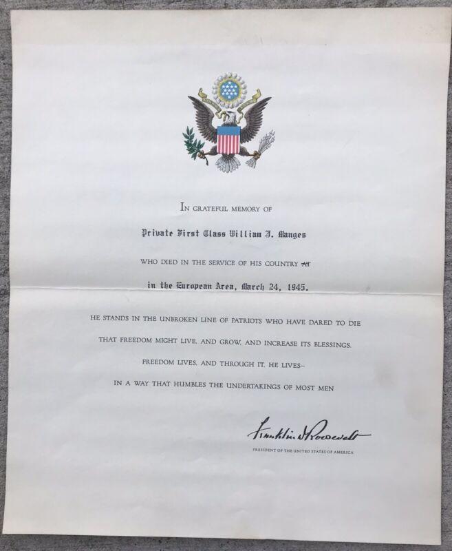 WW2 Accolades 1st Inf Div 18th Rgt KIA Germany 3/24/45 & Posthumous Award Letter