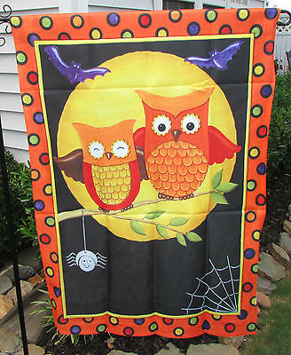 Happy Halloween Two Owls and Spider Happy Owl-oween Halloween Large House Flag (Halloween 1349)