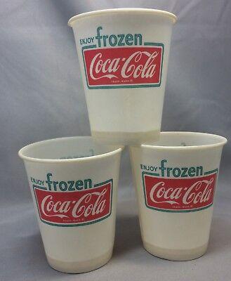 3 1969 FROZEN COCA-COLA Advertising SODA Dixie Paper Cups Vintage Original