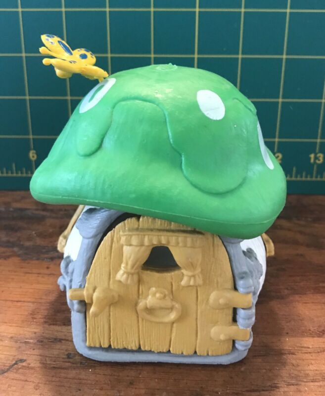 Vintage Peyo Schleich Smurfs White Green Small Mushroom House Cottage 70s Rare