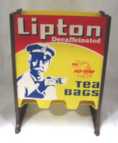 Lipton Decaf Tea Bag Holder Stand Resturant Diner Hard Plastic Wood Grain SHP