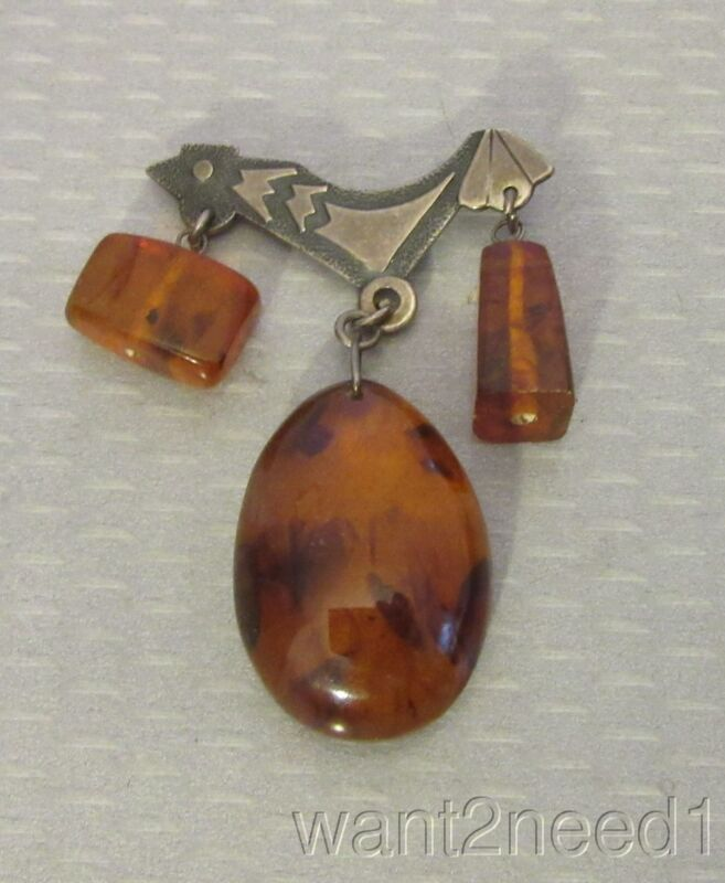 vtg Russia hallmark SILVER CLEAR BALTIC AMBER ROOSTER PIN dangling 3 drop brooch