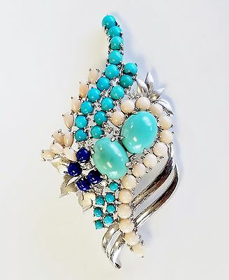 18K White Gold All Natural Diamond, Lapis Lazuli and Angel Skin Coral Brooch