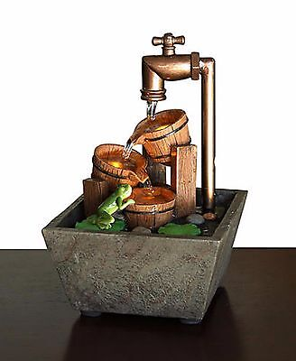 Relaxation Fountain Feng Shui Tabletop Small Desk Waterfall Country Bucket LED