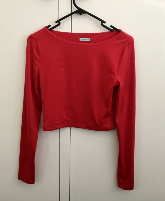 9ab3a8bbbe0 KOOKAI Red Long Sleeve Crop Top Size 2 | Tops & Blouses ...