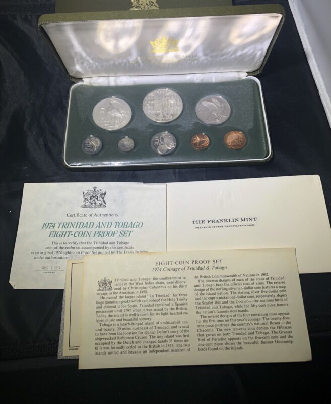 TRINIDAD & TOBAGO 1974 and 1977 Silver Proof (8 COIN) Sets: Total ASW 3.848