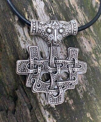 Gebraucht, Anhänger Thorshammer Ornente  Hiddensee Thor Lederband Donar Runen K11.9 gebraucht kaufen  St. Ingbert