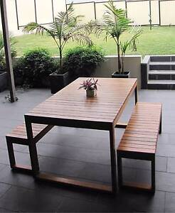 HARDWOOD TIMBER OUTDOOR TABLE & BENCH SETTING - Aust. Made Greenacre Bankstown Area Preview