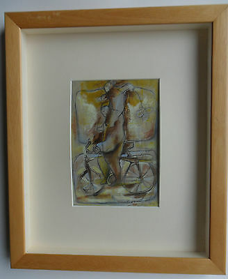 WALTER BARRIENTOS BORN 1960 CUZCO, PERU ORIGINAL SIGNED MIXED MEDIA CYCLIST