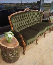 Antique Button Back Emerald Green Velvet Sofa / Lounge - 3 seater Grovedale Geelong City Preview