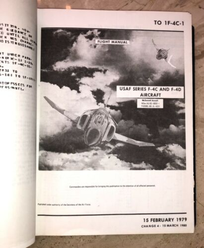 ORIGINAL USAF US Air Force F-4 F-4C/D Phantom II Aircraft Flight Manual