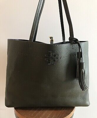 Tory Burch McGraw Pebbled Leather Tote - Olive Green