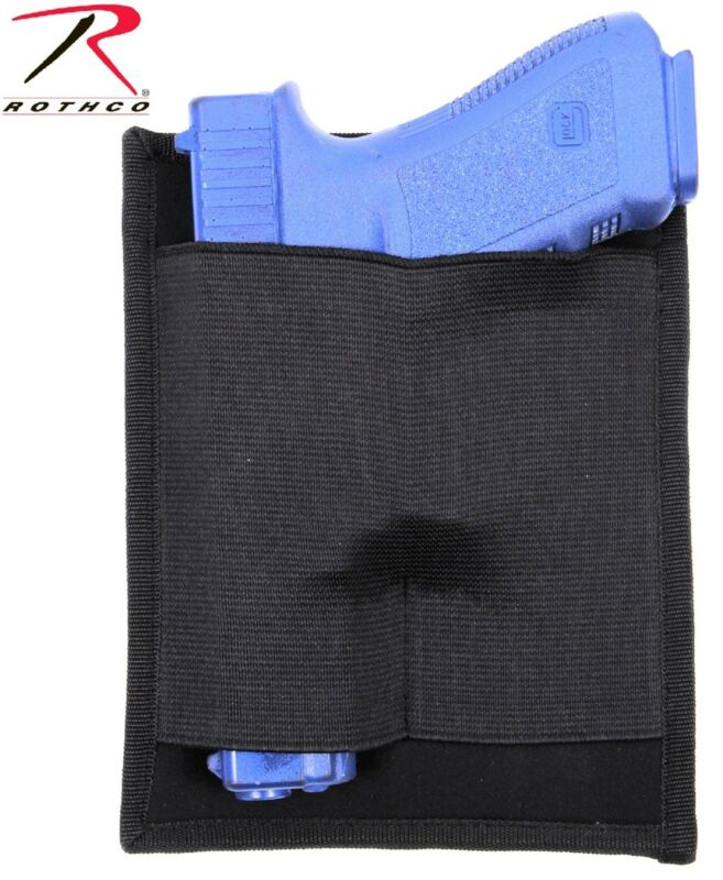 Black Padded Concealed Carry Pistol Holster with Easy Attach Hook & Loop Panel