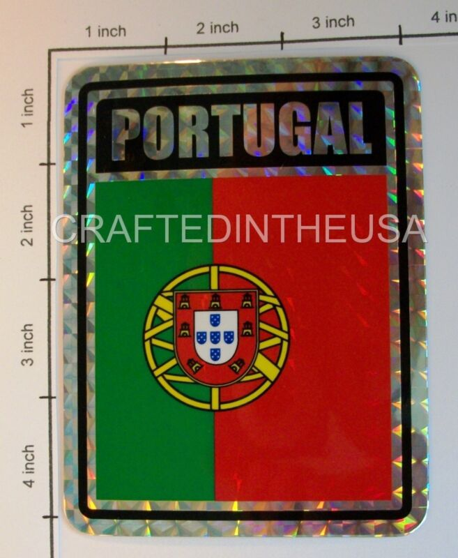"Reflective Sticker Portugal Country Flag 3x4"" Inches Adhesive Car Bumper Decal"