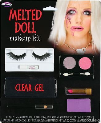 Melted Doll Makeup Kit Eyelashes Gel Sponge Face Paint Halloween Accessory - Doll Face Makeup Halloween