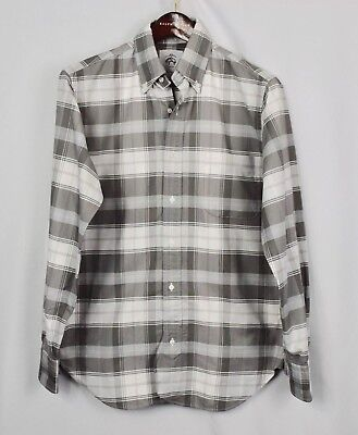 Brooks Brothers Black Fleece Gray White Plaid Oxford Shirt BB1 Men's Small s
