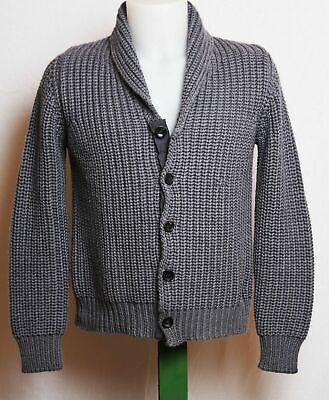 Roberto Collina Merino Wool Chunky Rib Knit Heavy Shawl Cardigan Sweater 48 / S