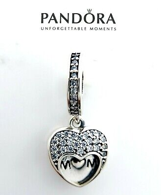 Authentic Pandora Silver 925 I love my mom Mother 792071 Dangle Charm