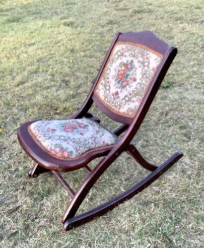 Vintage antique Covered Folding Rocking Chair Tapestry wood wooden Victorian