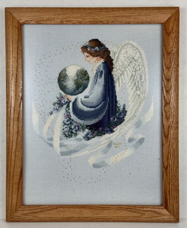 Vintage Lavender And Lace Earth Angel Completed Framed Cross Stitch Picture