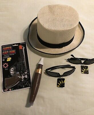 Gangster Halloween Costume Accessories (Gangster Halloween Costume Accessories( Hat, Cigar, 2 Pairs of Sunglasses,)