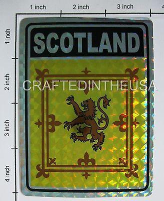 "Reflective Sticker Scotland Lion Flag 3x4"" Inches Adhesive Car Bumper Decal"