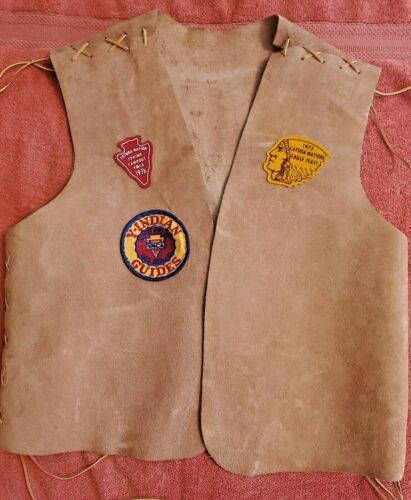 Y-INDIAN GUIDES YMCA Hand Crafted Leather Vest 1970s