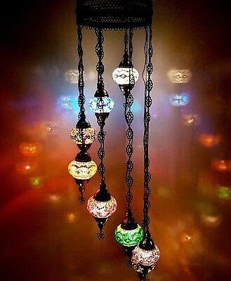 Handgefertigt Bunt Turkish Mosaik Wandbehang Lampen Licht 8 Glas Globen - Glas 1 Licht Kronleuchter