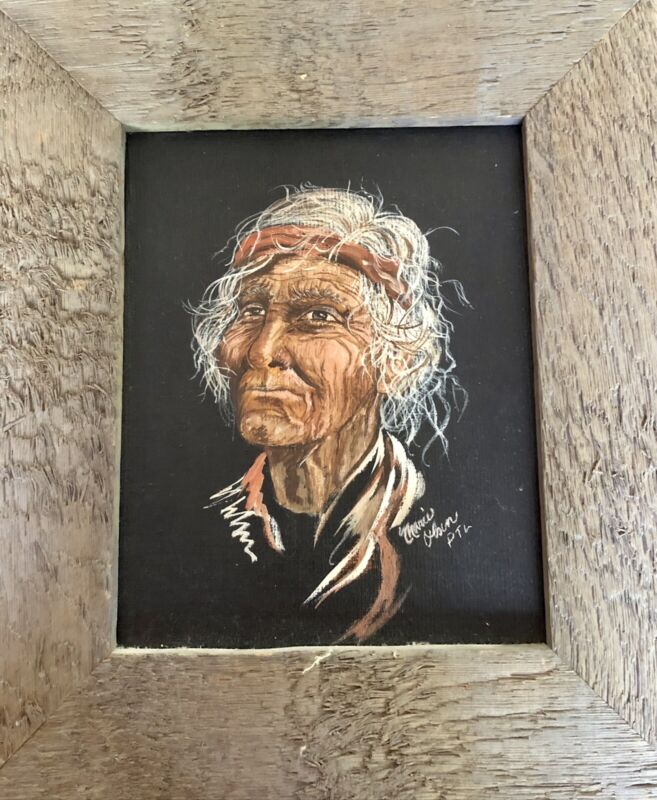 HAND PAINTED NATIVE AMERICAN INDIAN CHIEF PORTRAIT FRAMED