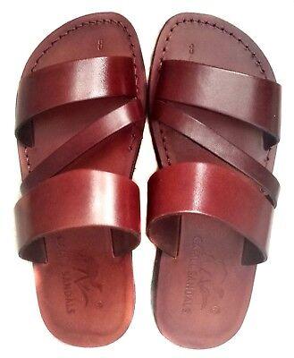 Leather Jesus Mens Brown Roman Sandals Gladiator UK Size 4-12 EU 36-47 Model - Mens Roman Sandals