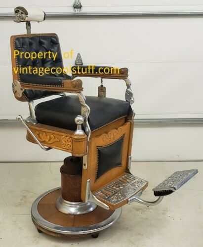 Antique Oak Kochs Barber Chair (almost totally restored, needs a couple repairs)