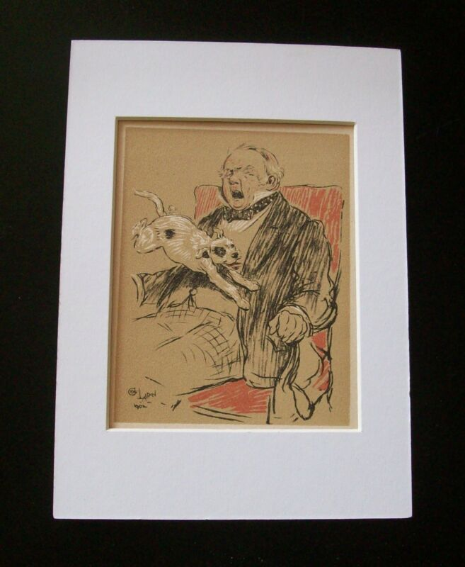 Dog Cecil Aldin Bookplate Print 1902 Puppy Jump On Mans Lap Matted Terrier? Mutt