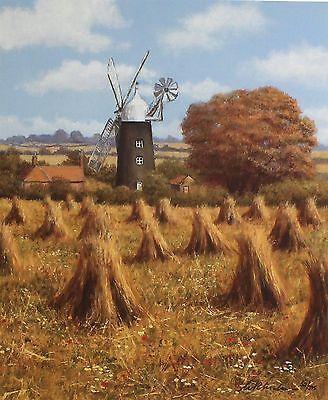 """BILL MAKINSON """"Autumn's Harvest"""" windmill hay SGD LTD! SIZE:41cm x 35cm NEW RARE"""