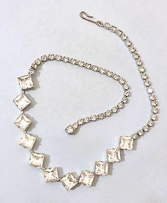 """vintage Art Deco crystal rhinestone silver tone necklace 15"""""""