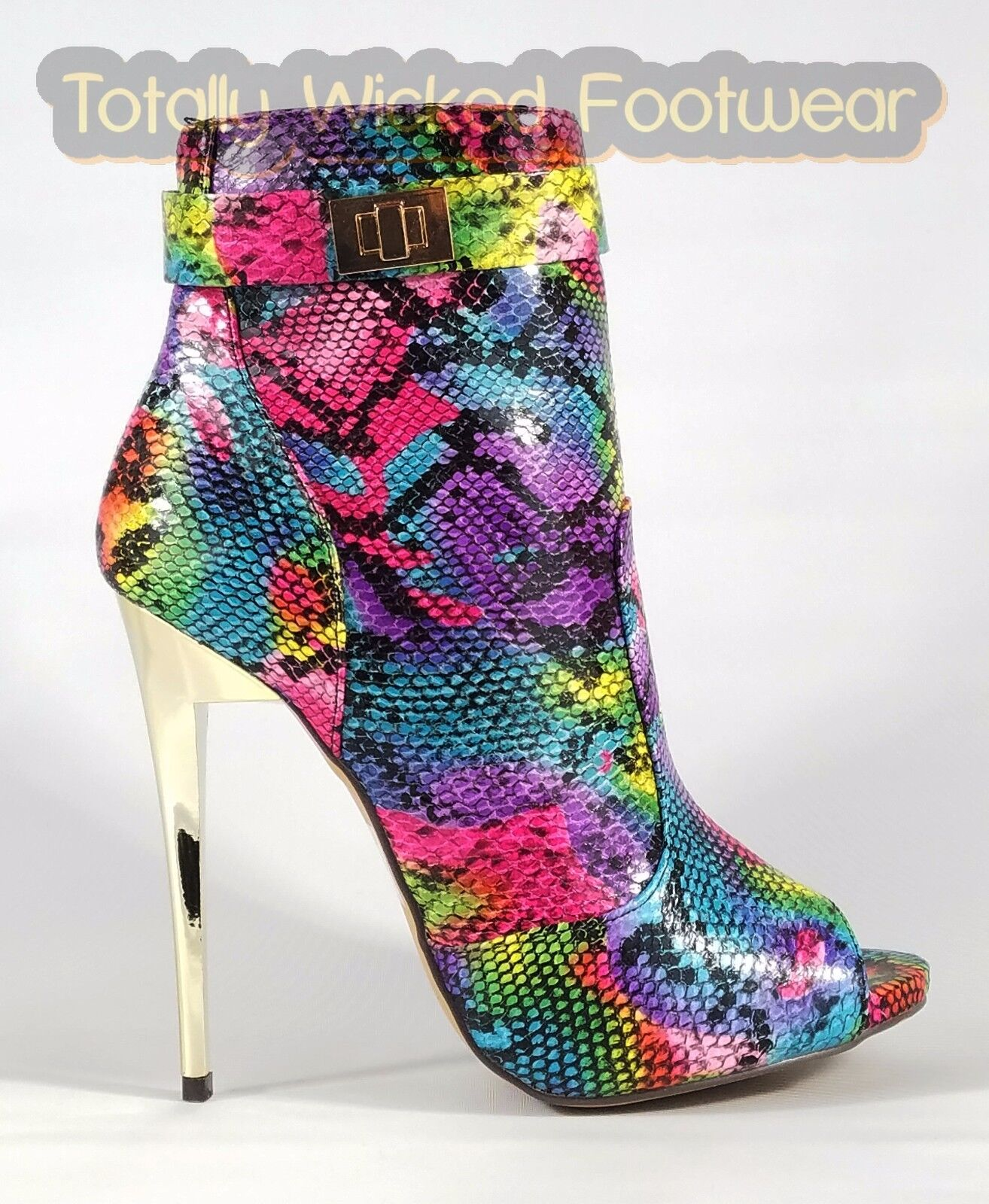 MM Adamarys Colorful Rainbow Snake Open Toe High Heel Ankle