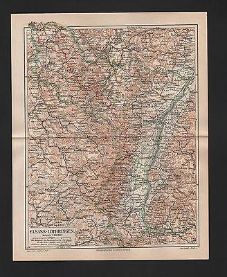 Landkarte map 1888: ELSASS-LOTHRINGEN. Strassbourg Metz Mühlhausen Münster