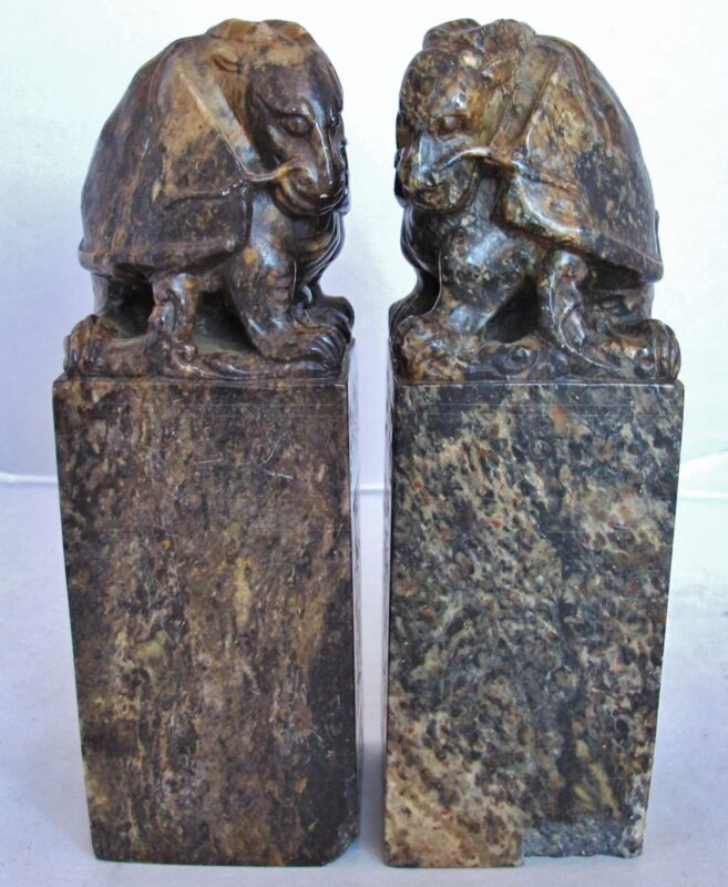 """Antique ? Pair of Chinese Hand Carved Soapstone DRAGON TURTLE Chop Seals (7.25"""")"""
