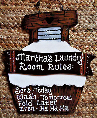 (Personalize LAUNDRY ROOM RULES Name SIGN Wall Hanger Plaque Country Wood Crafts)
