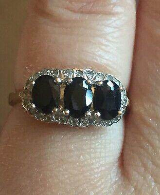 Vintage 1987 Hallmarked 9ct 375 Gold Sapphire & Diamond Ring 3.05g Size N1/2