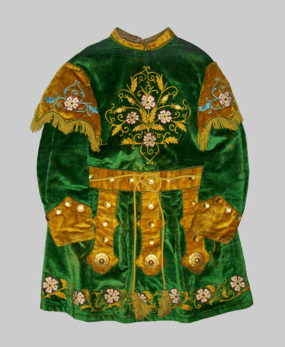 Old Antique Vtg Ca 1900s Odd Fellows IOOF Embroidered Fraternal Tunic Green Gold