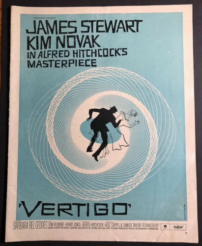 1958 VERTIGO MOVIE POSTER AD RARE OFF-GRADE READ! Blue Version Alfred Hitchcock!