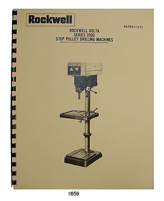 Rockwell Delta 20 Series 2000 Step Pulley Drill Press Op Parts Manual 1656