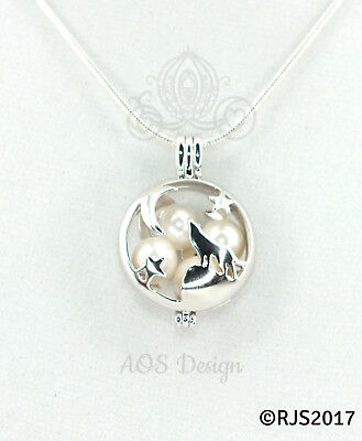 Wolf Howling At The Moon Pearl Cage Locket Charm Pendant Necklace Silhouette