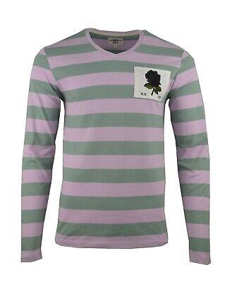 KENT & CURWEN HOOPED PINK GREEN V-NECK LS TOP BLACK ROSE PATCH DAVID BECKHAM