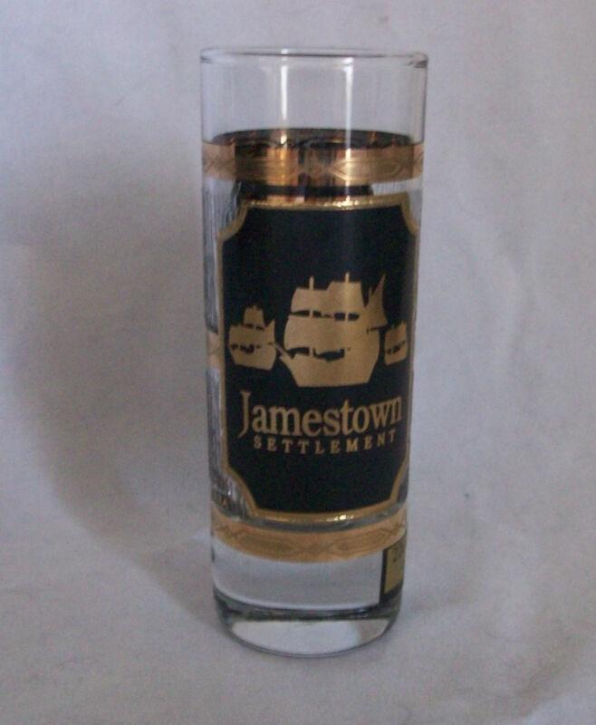 Shot Glass Culver Jamestown Settlement 22K Gold USA Ships Shooter Bar Vtg Rare