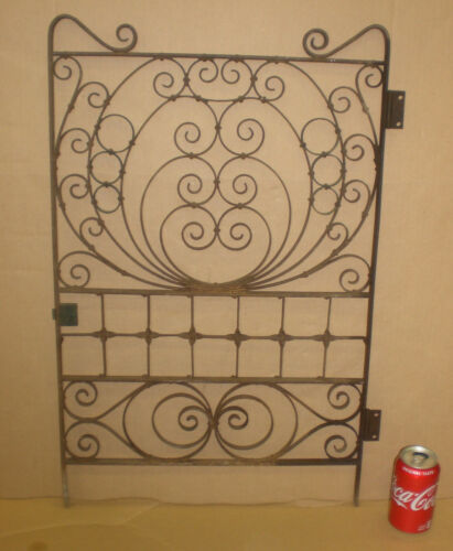 Antique Architectural Bank Teller Cage Window Gate Door METAL & BRASS SCROLLED