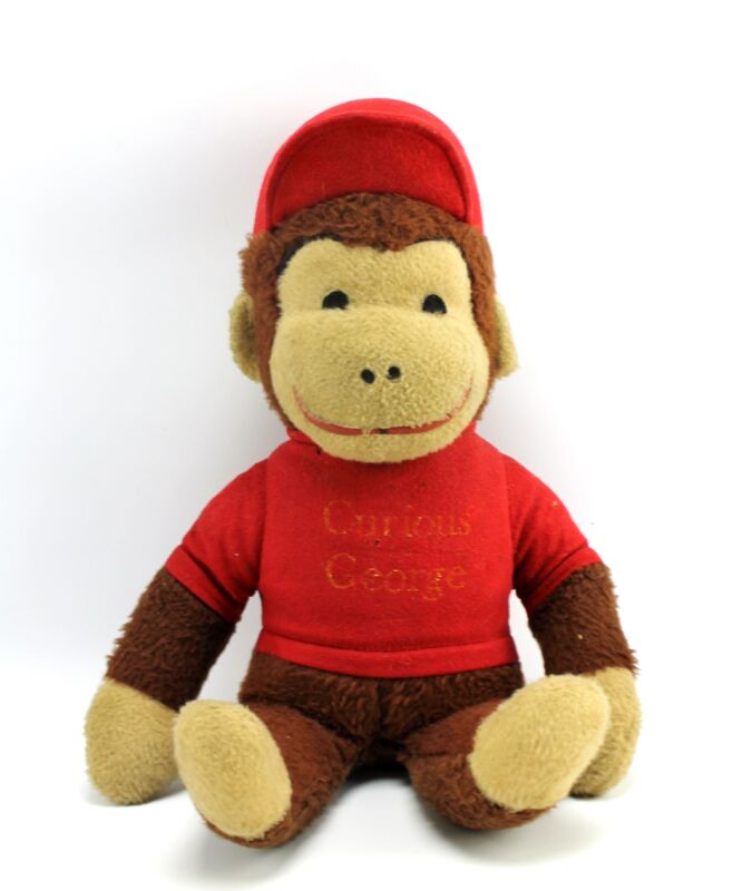 "Vintage Curious George in Red Shirt 18"" Plush Toy Knickerbocker"
