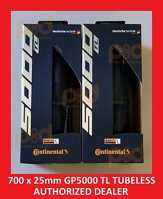 7697f9fd809 PAIR 2 Continental Grand Prix GP 5000 TL 700 c x 25 mm TUBELESS Road Bike  Tires