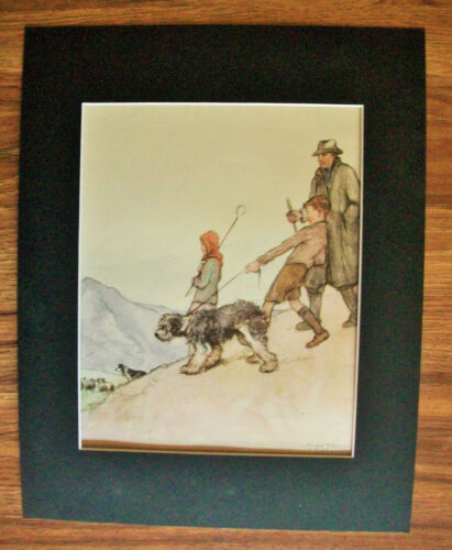 Print Sheepdog Collie Vernon Stokes Kids Herd Sheep Bookplate 1947 11x14 Matted