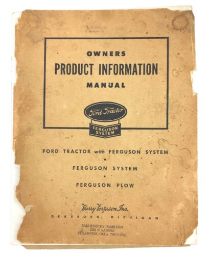 Vtg Ford Tractor Owners Product Information Manual Harry Ferguson 1945 Wartime